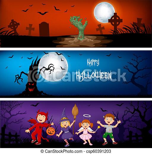 Tres pancartas de Halloween - csp60391203