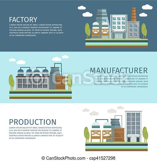 Edificios industriales estandartes horizontales - csp41527298