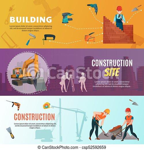 Estandartes de obreros horizontales - csp52592659