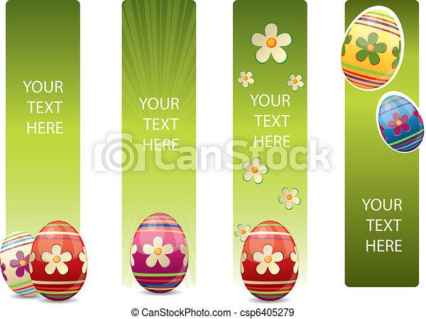 Estandartes de Pascua con huevos de Pascua coloridos - csp6405279