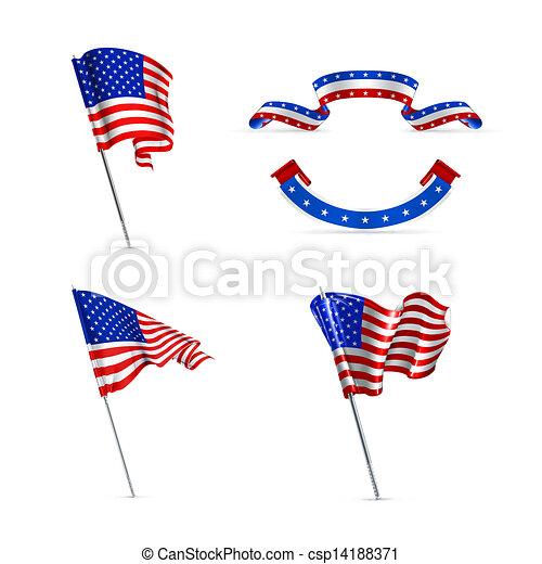 Banderas americanas, listas - csp14188371