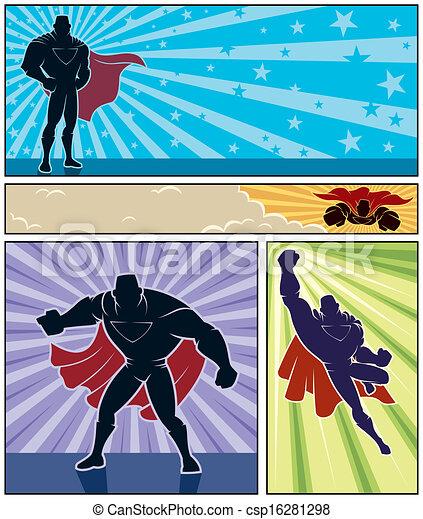 Pancartas de superhéroe - csp16281298