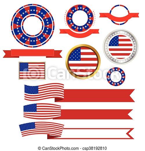 Banners y cintas vector americano - csp38192810