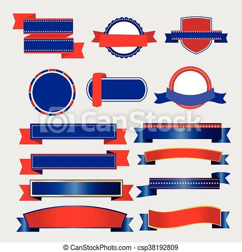 Ribbons y pancartas vector americano - csp38192809
