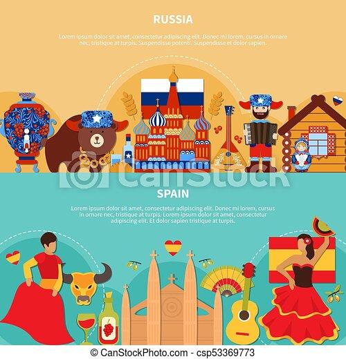 Banderas viaje espa a rusia horizontal plano estilo estereotipo garabato viaje - Banera de viaje ...