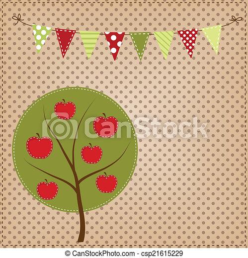 Manzana con banderines o pancartas - csp21615229