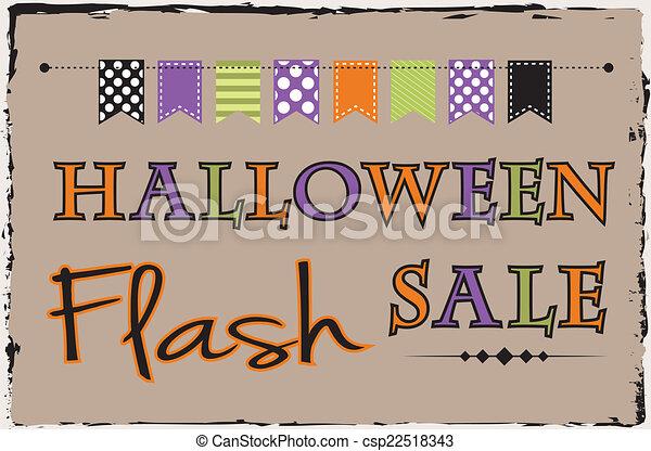 La plantilla de ventas de Halloween con banderines o pancartas - csp22518343