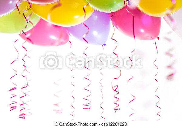 banderoles, isolé, anniversaire, fond, fête, blanc, ballons, célébration - csp12261223