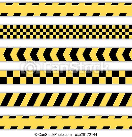 bandes, ensemble, jaune, barrière - csp26172144