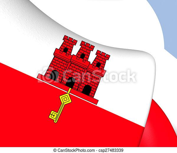 Bandiera Gibilterra Gibraltar Su Bandiera Chiudere