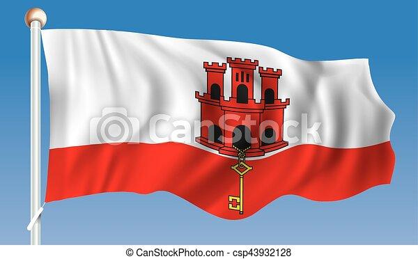 Bandiera Gibilterra Bandiera Vettore Gibilterra Illustrazione