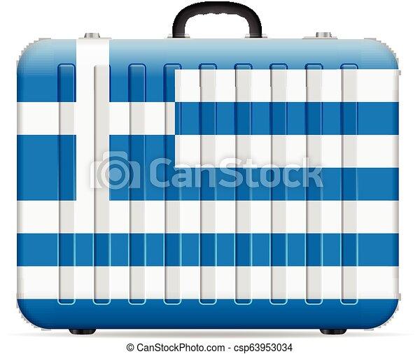 bandiera, grecia, viaggiare, valigia - csp63953034
