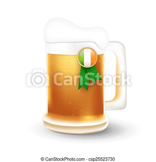 bandiera irlandesa, tazza birra - csp25523730