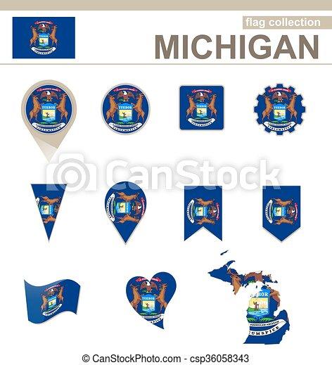bandiera michigan, collezione - csp36058343