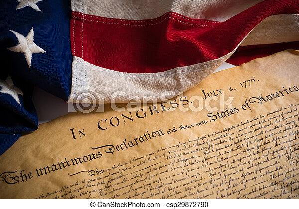 bandiera, stati, unito, dichiarazione, indipendenza, vendemmia - csp29872790