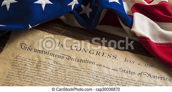bandiera, stati, unito, dichiarazione, indipendenza, vendemmia - csp30036870