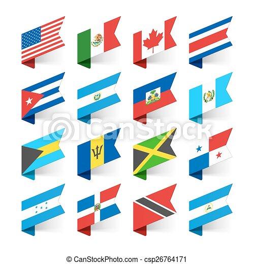 bandiere, america, nord, mondo - csp26764171