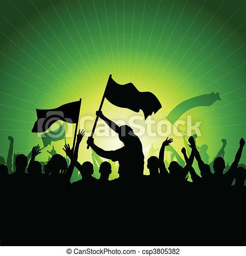 bandiere, folla, felice - csp3805382