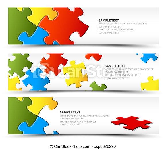 bandiere, puzzle, set, orizzontale - csp8628290
