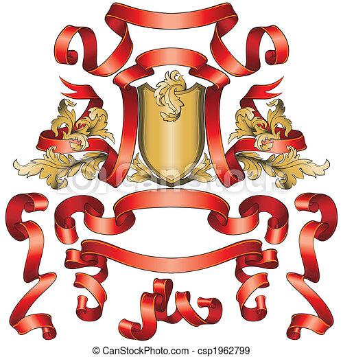 bandiere, scudo, collezione, dorato, rosso - csp1962799