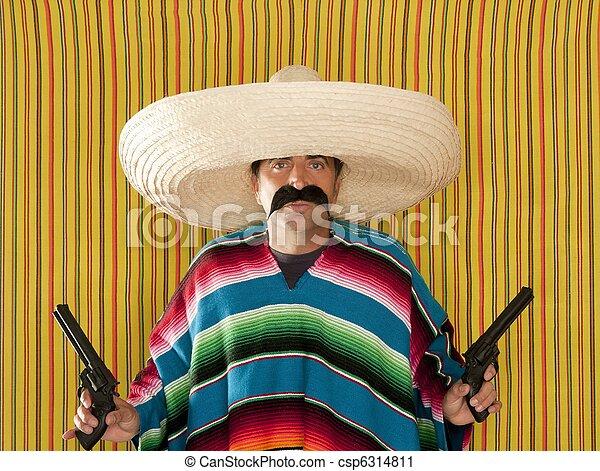Bandit Mexican revolver mustache gunman sombrero - csp6314811