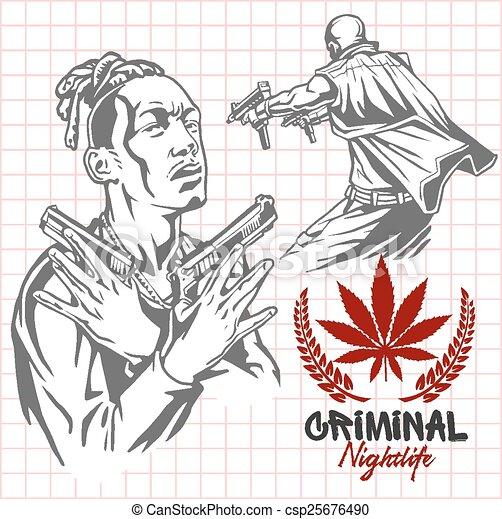 Bandits and hooligans - criminal nightlife - csp25676490