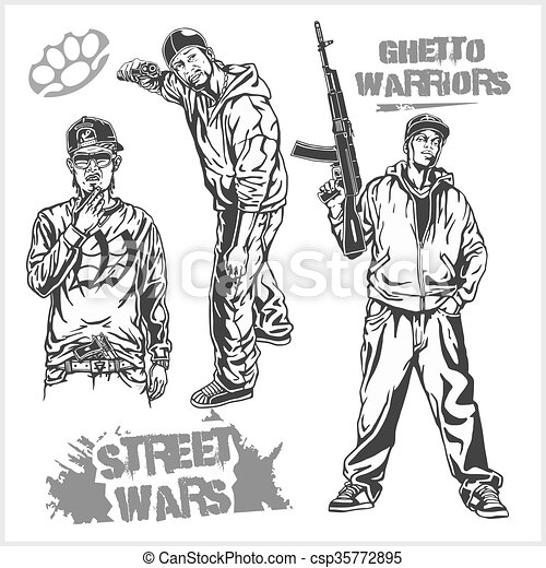 Bandits and hooligans - criminal nightlife - csp35772895