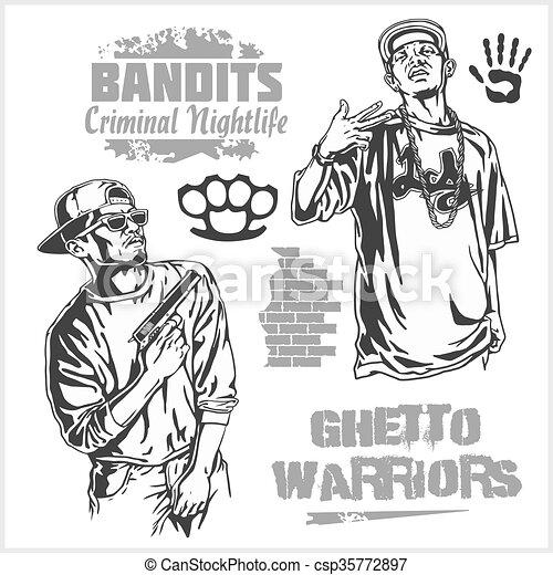 Bandits and hooligans - criminal nightlife - csp35772897