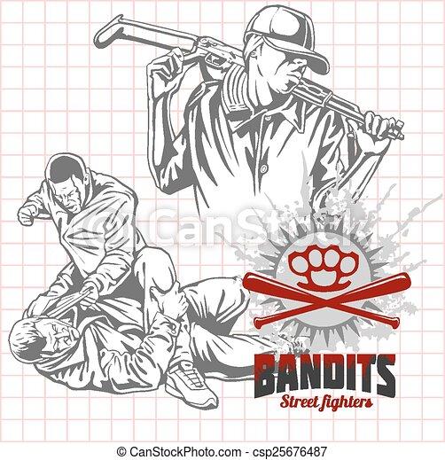 Bandits and hooligans - criminal nightlife - csp25676487