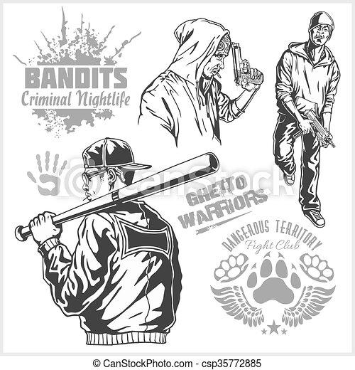 Bandits and hooligans - criminal nightlife - csp35772885