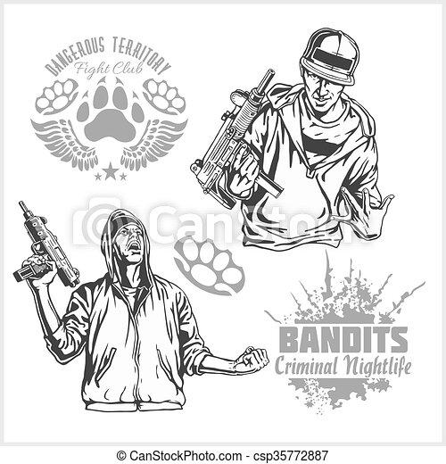 Bandits and hooligans - criminal nightlife - csp35772887