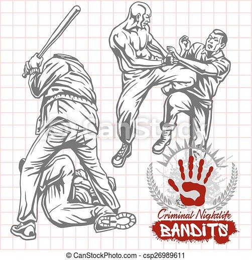 Bandits and hooligans - criminal nightlife - csp26989611
