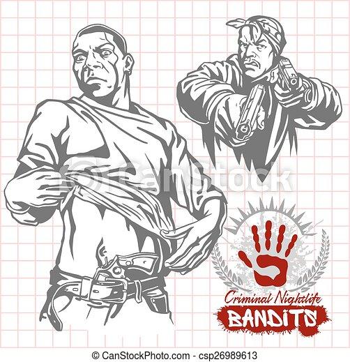 Bandits and hooligans - criminal nightlife - csp26989613