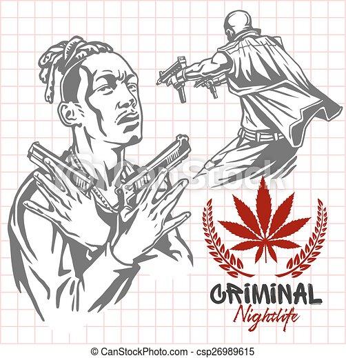Bandits and hooligans - criminal nightlife - csp26989615