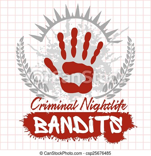 Bandits and hooligans - emblem of criminal nightlife - csp25676485