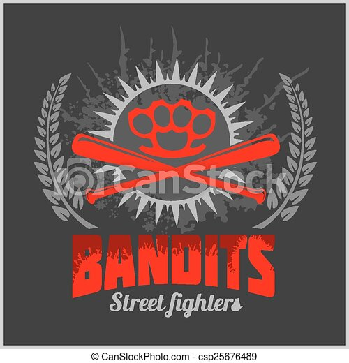 Bandits and hooligans - emblem of criminal nightlife - csp25676489