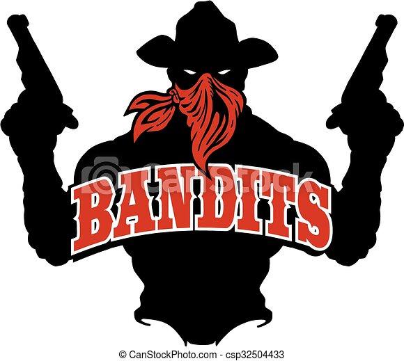 Bandits silhouette . Bandits logo team design with cowboy ...