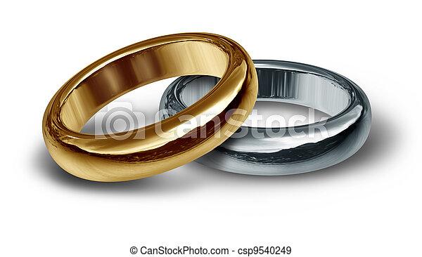 bandy, dwa, złoty, ślub - csp9540249