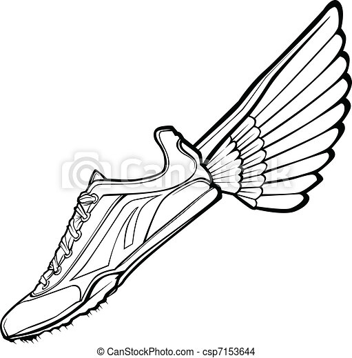 banen, illustr, vektor, sko, vinge - csp7153644