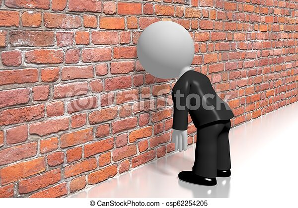Banging head against the wall/ frustration concept - csp62254205