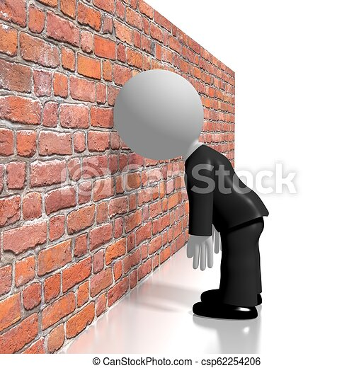 Banging head against the wall/ frustration concept - csp62254206
