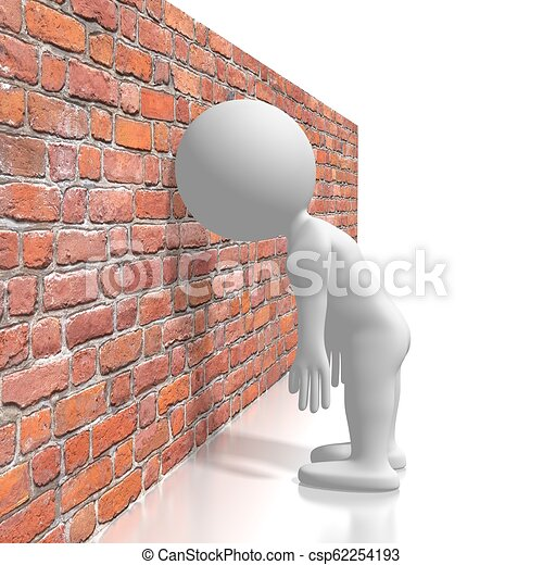 Banging head against the wall/ frustration concept - csp62254193
