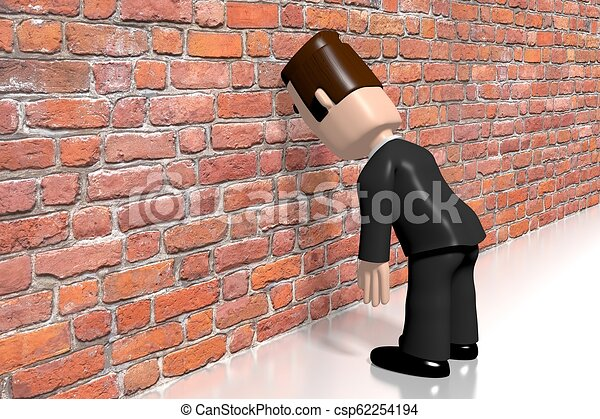 Banging head against the wall/ frustration concept - csp62254194
