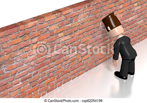 Banging head against the wall/ frustration concept - csp62254198