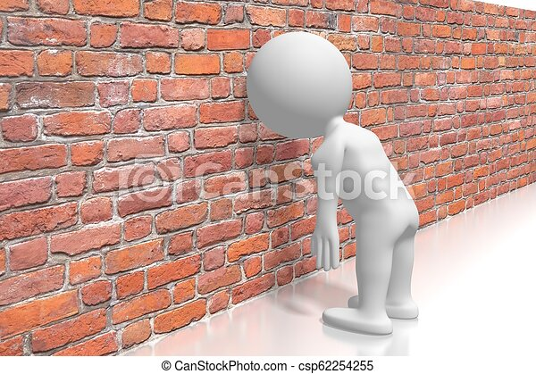 Banging head against the wall/ frustration concept - csp62254255