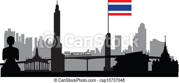 Bangkok Skyline con bandera tailandesa - csp10737048