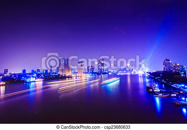 Bangkok City at night time, area in the capital of Thailand  - csp23680633