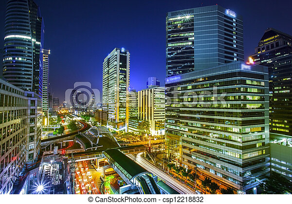 Bangkok city night view - csp12218832