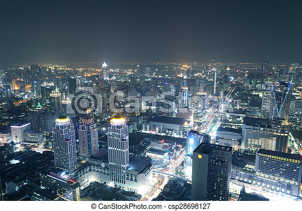 Bangkok City Top View At Night
