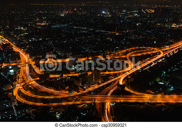 Bangkok Cityscape at Night with Complex Highway Junction - csp30959321